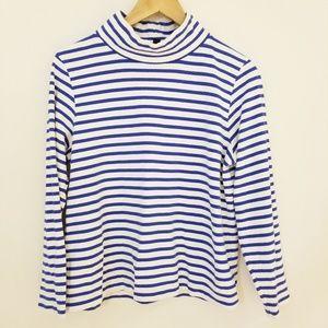 J.CREW Sailer Striped funnelneck mockneck shirt